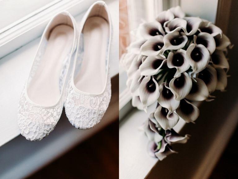 lace wedding shoes and white and purple bouquet